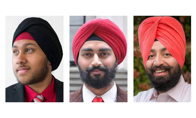 Pvt. Arjan Singh Ghotra, Spc. Kanwar Singh and Spc. Harpal Singh, left to right, will be allowed to wear the uncut beards and hair and turbans that their religion requires when they report to Army basic training next month. (Daisy Saulls, Sikh Coalition; Sikh Coalition; Emily Hardman, Becket Fund.)