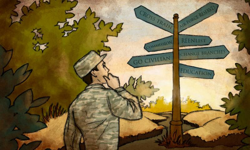 As Airmen progress their career or bring it to a close, there are a number of career transition options to consider. (U.S. Air Force graphic illustration by Airman 1st Class Elizabeth Baker)