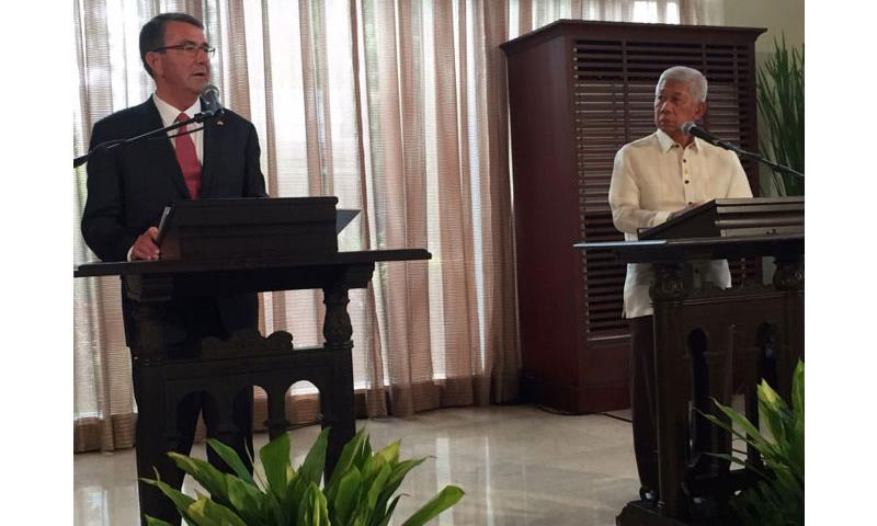 Defense Secretary Ash Carter and Philippines defense minister Voltaire Gazmin announce on Thursday, April 14, 2016, that new rotational forces will operate out of the Philippines. (Tara Copp/Stars and Stripes)