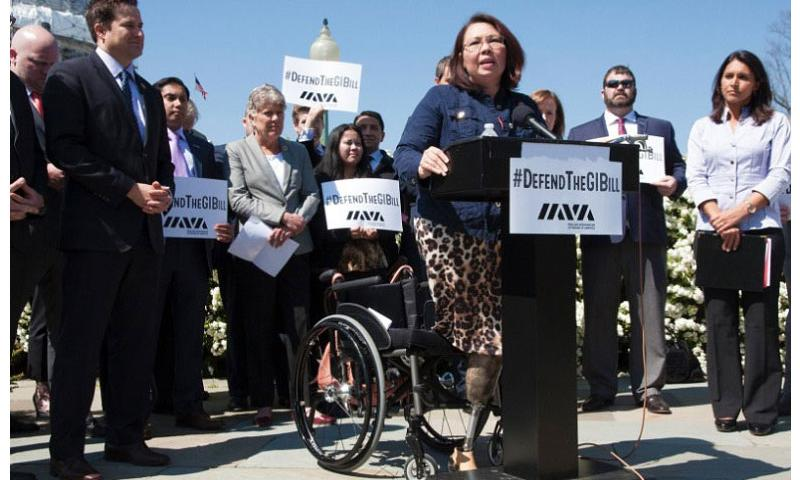 Rep. Tammy Duckworth speaks passionately about the G.I. Bill during a press conference on April 14, 2016, near the Capitol Building. (Meredith Tibbetts/Stars and Stripes)