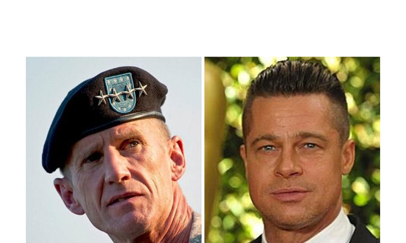 Former Army Gen. Stanley A. McChrystal, left and actor Brad Pitt (Left photo courtesy of U.S. Army, right photo courtesy of Invision/AP)