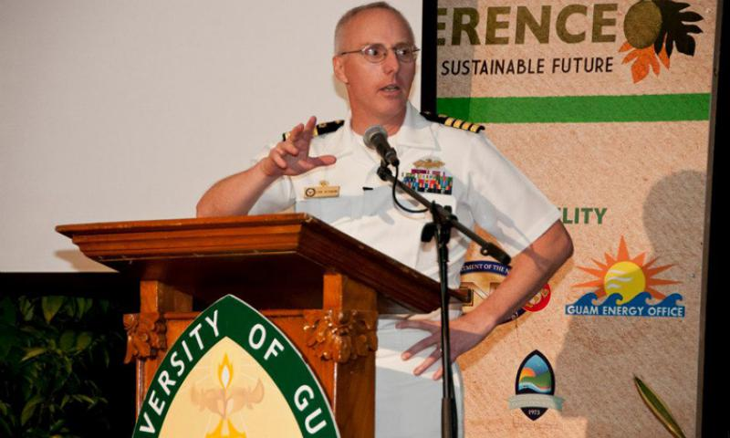 TUMON, Guam – Capt. John Heckmann, Naval Facilities Engineering Command Marianas commanding officer, talks about the Navy's initiatives toward sustainability during the University of Guam's 2013 Island Sustainability Conference at the Hyatt Regency Guam in Tumon, Guam, April 18. The three-day conference covered a range of topics from corporate social responsibility to technical innovations. (U.S. Navy photo by Shaina Marie Santos/Released)