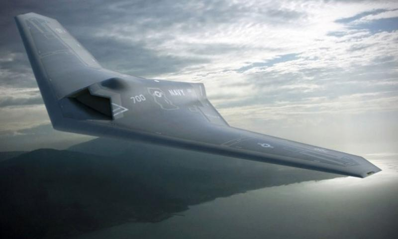 An artist's concept of a proposed Lockheed Martin Unmanned Carrier Launched Airborne Surveillance and Strike (UCLASS) air vehicle. The Navy has installed a drone command center aboard the USS Carl Vincent to handle such aircraft a few years from now. (Lockheed Martin)