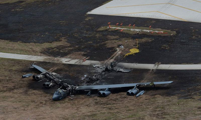 A B-52H was destroyed in a fire after an aborted takeoff at Andersen Air Force Base in Guam on May 19, 2016. The Air Force determined in a recently released investigation the incident was caused by mechanical failures. The incident resulted in minor injury to one crew member and no fatalities. (U.S. AIR FORCE PHOTO)
