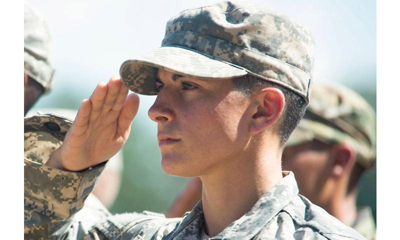 Capt. Kristen Griest of U.S. Army Ranger School Class 08-15 renders a salute during graduation at Fort Benning, Ga., Aug. 21, 2015. (Steve Cortez/U.S. Army)