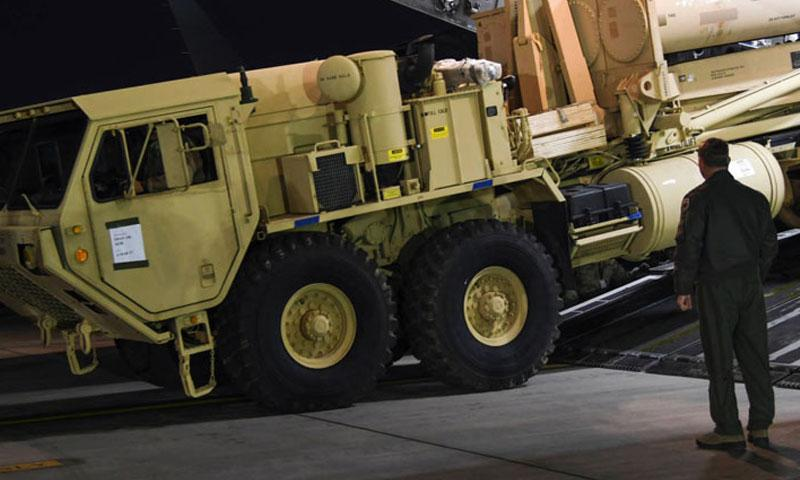 Elements of a Terminal High Altitude Area Defense system arrive on the Korean Peninsula in March. (COURTESY OF USFK)