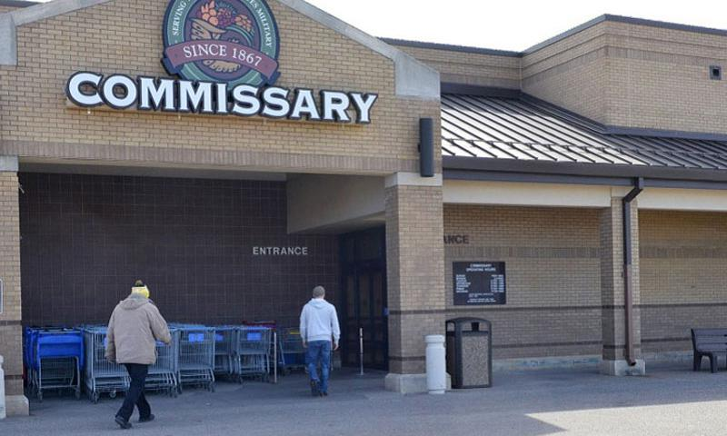 Customers prepare to enter the commissary Feb. 27, 2014, at McConnell Air Force Base, Kan. (Trevor Rhynes/U.S. Air Force)