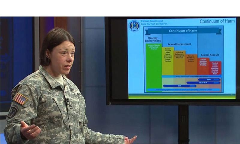 A video screen grab shows a military sexual assault response and prevention coordinator for Fort Meade, Md., giving a lecture on April 16, 2015. (Defense Department)
