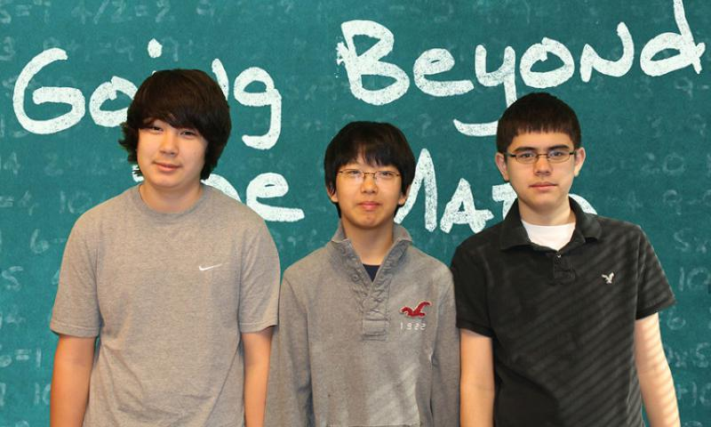 "OSAN AIR BASE, South Korea – The ""Mathlete"" team from Osan Middle School (left to right) Matthew Burbee, Young Park, Jonas Knudsen and Anigha Collins (not pictured) placed third overall in the 2013 DoDDS State MATHCOUNTS Competition. Knudsen qualified for the DoDDS National MATHCOUNTS team and will join three fellow DoDDS students to compete in the National MATHCOUNTS Competition to be held May 9-12 in Washington, D.C. (DoDEA Photo courtesy of Osan Middle School/Released)"