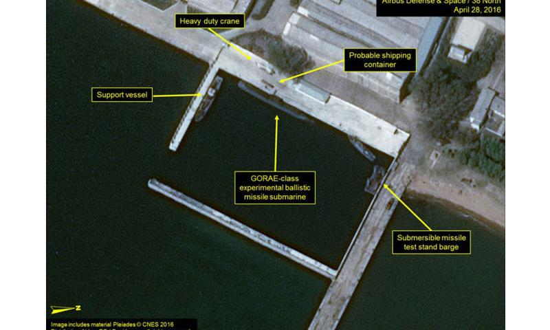This satellite image taken April 28, 2016, shows post-launch activity of a submarine-launched ballistic missile at Sinpo South Shipyard, North Korea. (Courtesy of 38 North/Airbus Defense and Space)