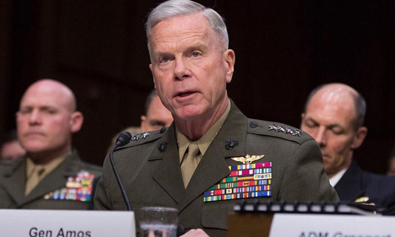 Gen. James Amos, commandant of the Marine Corps, testifies before the Senate Armed Services Committee, May 6, 2014. (RICK VASQUEZ/STARS AND STRIPES)