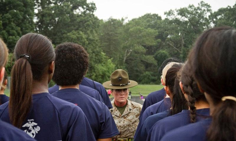 U.S. Marine Corps Sgt. Julie Martinez, a drill instructor with 4th Recruit Training Battalion, Marine Corps Recruit Depot Parris Island, introduces herself to female recruits on June 20, 2015. (Bryan Nygaard/U.S. Marine Corps)