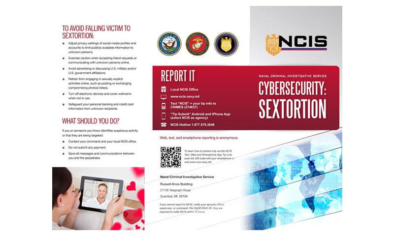 "The NCIS cybersecurity ""sextortion"" brochure. (NCIS)"