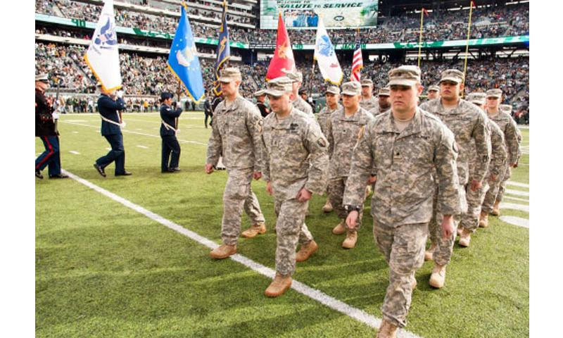Soldiers from the New Jersey Army National Guard's 50th Infantry Brigade Combat Team participate in New York Jets pre-game ceremonies on Sunday Nov. 9, 2014, at Metlife Stadium in East Rutherford, N.J. (New Jersey National Guard)
