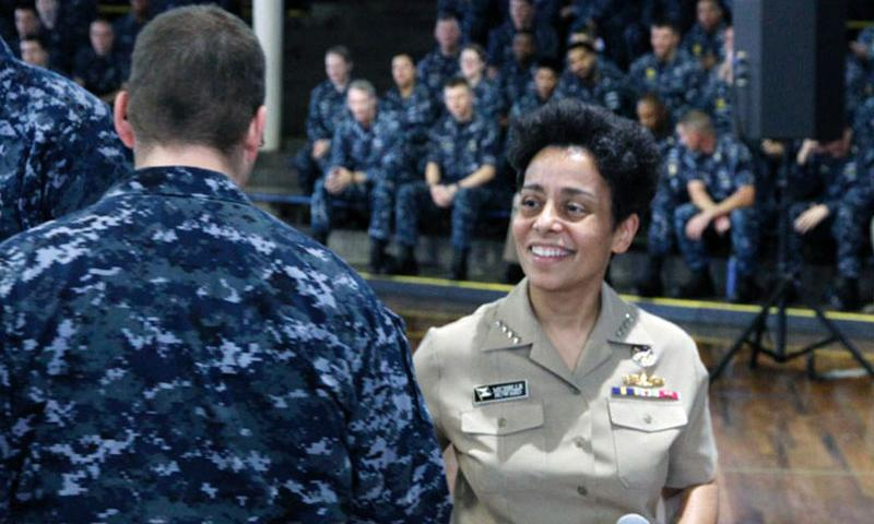 Adm. Michelle Howard, vice chief of naval operations, shakes hands with a sailor during an all-hands call Thursday at Joint Base Pearl Harbor-Hickam. Wyatt Olson Stars and Stripes (Wyatt Olson/Stars and Stripes)