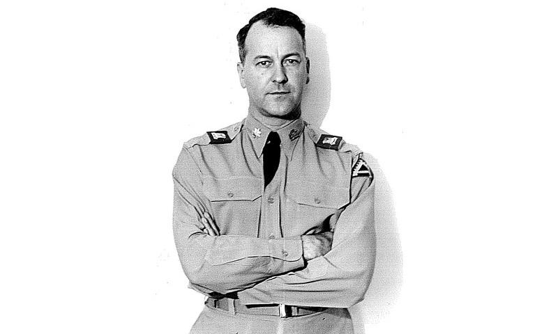Army Col. Herbert Brown, former 854th Aviation Battalion commander, was responsible for the initial construction of North Field, Guam, completed in April, 1945. Almost 60 years later, his grandson, Army Capt. Jeffrey Beeman, 523rd Engineer Company commander, took charge of new construction and expansion efforts at the same site, now known as Northwest Field. (Courtesy photo)