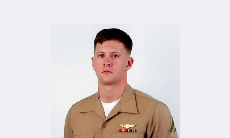 This undated photo provided by the US Marine Corps shows Lance Cpl. Joshua E. Barron, 24, of Spokane, Wash. Military officials have identified Barron, who was killed when a military aircraft crashed during a training exercise in Hawaii on Sunday, May17, 2015. The Marine Corps says Barron died of injuries sustained when the MV-22 Osprey went down Sunday at a military base outside Honolulu. (U.S. Marine Corps)