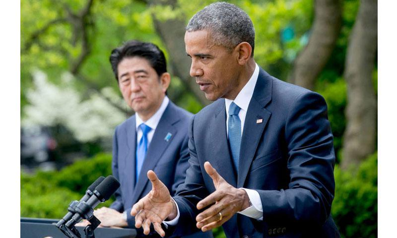 President Barack Obama met with Shinzo Abe, Japan's prime minister, in Washington to discuss U.S. efforts to build a united front with its North Asian allies. (Bloomberg)