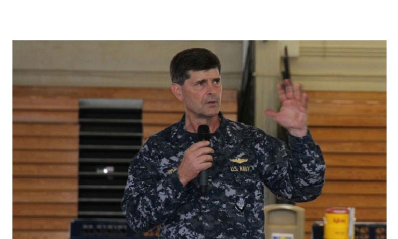 Chief of Naval Personnel Vice Adm. Bill Moran addresses sailors on May 21, 2014, in Okinawa. Moran is on a tour of Japan to hear sailors' concerns and to discuss everything from retention and advancement to benefits. (MATTHEW M. BURKE/STARS AND STRIPES)