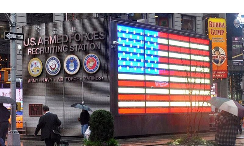 The Armed Forces Recruiting Station in New York City's Times Square. (DAN DESMET/U.S. ARMY)