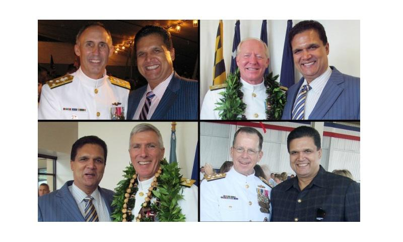 Clockwise from top left, Leonard Glenn Francis is seen with Vice Adm. Scott Buskirk, Adm Robert Willard, Adm. Mike Mullen and Adm. Samuel Locklear. (Courtesy photos obtained by The Washington Post)