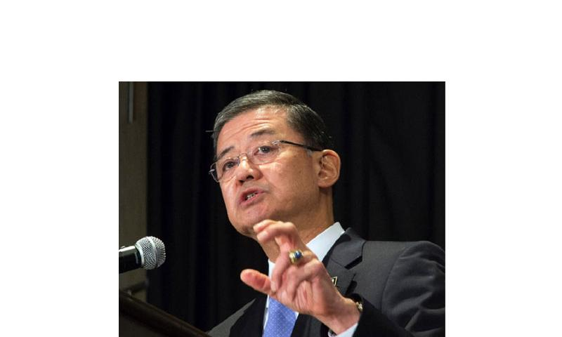 Veterans Affairs Secretary Eric Shinseki addresses veteran homelessness and problems with VA healthcare during a speech Friday, May 30, 2014, in Washington, D.C., shortly before his resignation. (CHRIS CARROLL/STARS AND STRIPES)