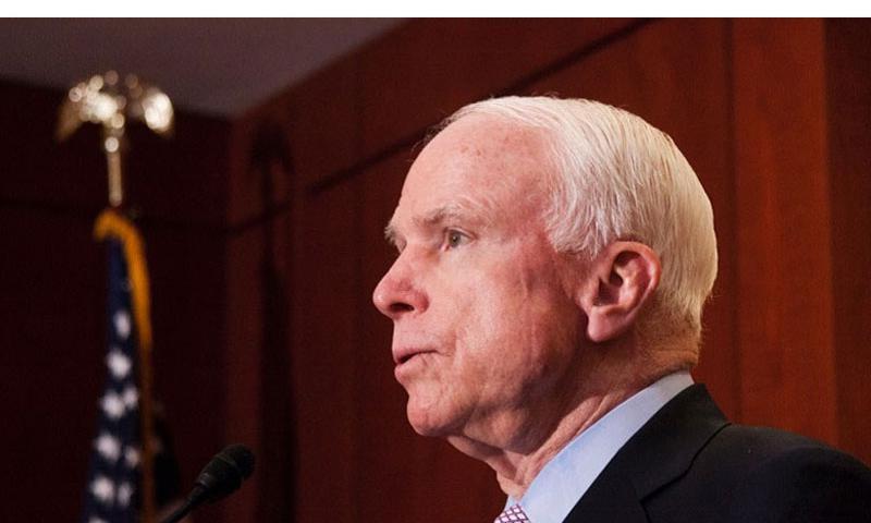 Sen. John McCain, R-Ariz., speaks on Capitol Hill in Washington, D.C. on May 14, 2014. (C.J. LIN/STARS AND STRIPES)