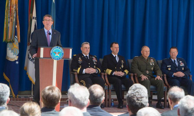 Secretary of Defense Ash Carter announces new 'Force of the Future' initiatives in the Pentagon courtyard, June 9, 2016. (Tim D. Godbee/Department of Defense)