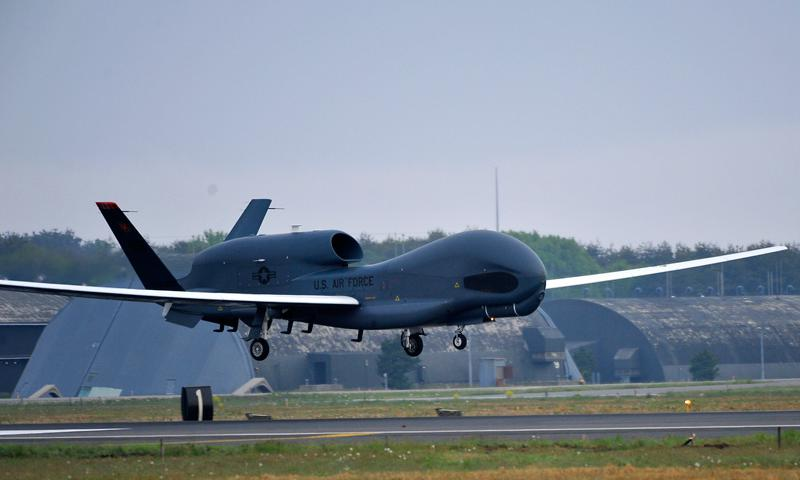 An RQ-4 Global Hawk from Andersen Air Force Base, Guam, lands at Misawa Air Base, Japan, May 24, 2014. The aircraft is part of the 69th Reconnaissance Group Detachment 1 and is the first Global Hawk to land in Japanese territory. (U.S. Air Force photo/Staff Sgt. Nathan Lipscomb)