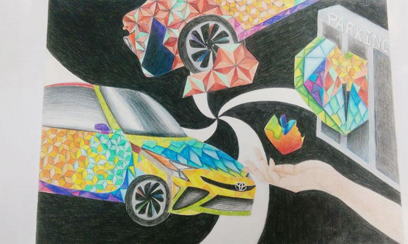 Dream Car Origami by Jy Joeng Son, a 5th grade student from Oleai Elementary School