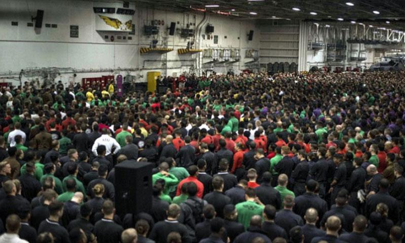 Senior leaders aboard the USS Ronald Reagan discuss alcohol and curfew restrictions with sailors on June 6, 2016, in waters south of Japan. The Navy enacted the restrictions following a series of off-base arrests. (Ryan McFarlane/U.S. Navy)