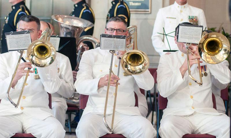 Members of a U.S. military band perform during a ceremony on Capitol Hill in Washington, D.C., on May 20, 2015. (Carlos Bongioanni/Stars and Stripes)