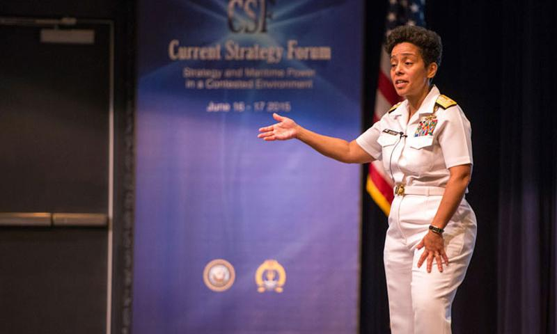 Newport, R.I. (June 16, 2015) Vice Chief of Naval Operations (VCNO) Adm. Michelle Howard speaks to attendees during the 2015 Current Strategy Forum, hosted by the U.S. Naval War College (NWC), Newport, Rhode Island. (U.S. Navy photo by John P. Stone/Released)