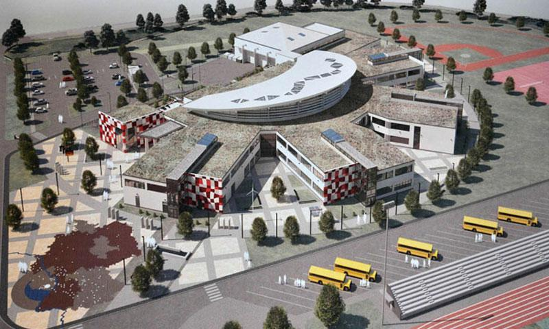 This artist's rendition of what the new Kaiserslautern High School will look like when it is completed hangs in an office at the construction site on Vogelweh complex. The total cost of the project is $74 million. (Michael Abrams/Stars and Stripes)