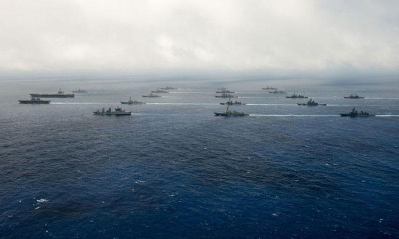 Malabar 2016 participants from the Indian Navy, Japanese Maritime Self-Defense Force and U.S. Navy sail in formation on June 17, 2016 in the Philippine Sea. (Tomas Compian/U.S. Navy)
