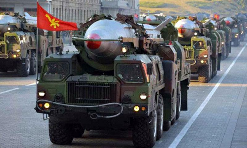 In this October 10, 2015 file photo, the Democratic People's Republic of Korea army parades it's missile defense during the Workers' Party of Korea 70th anniversary. North Korea failed to launch a powerful mid-range missile Wednesday for the fifth time in just over two months, South Korea's military said. (Rodong Sinmun)