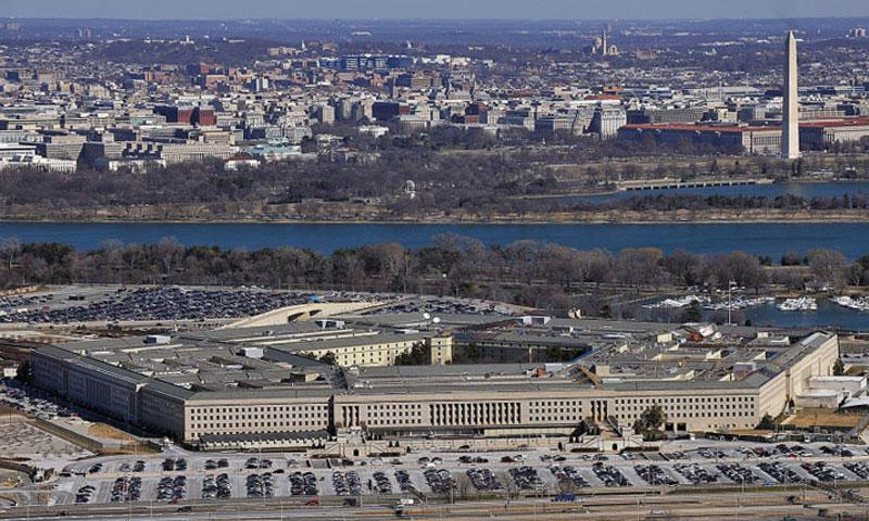 An aerial view shows the Pentagon with the Washington Monument and National Mall in the background on Feb. 13, 2012. (Perry Aston/U.S. Air Force)