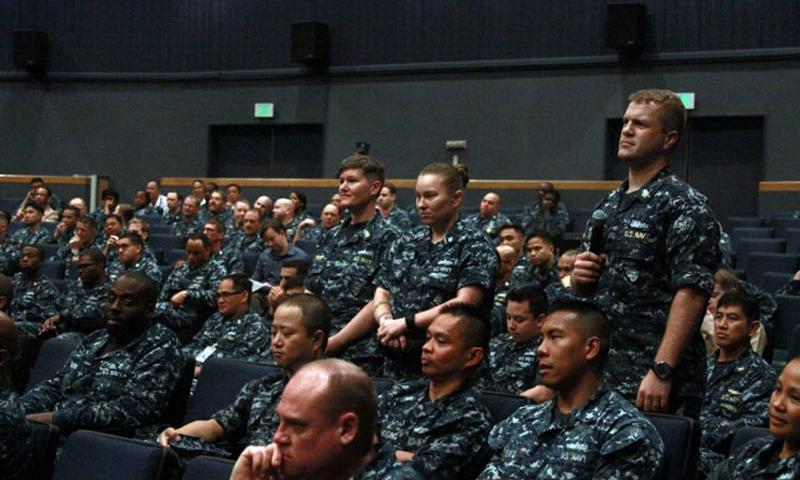 Sailors at Yokosuka Naval Base, Japan, ask Master Chief Petty Officer of the Navy Michael D. Stevens questions during an all-hands visit on June 22, 2015. (Tyler Hlavac/Stars and Stripes)
