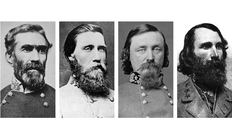 Confederate generals Braxton Bragg, John Bell Hood, George Pickett and A.P. Hill, left to right, are among the Confederate generals who have U.S. military bases named after them.