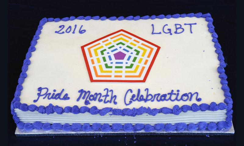 Department of Defense LGBT Pride Month Event Celebration cake. The celebration was held on the Pentagon Courtyard, June 8th, 2016. (Department of Defense)