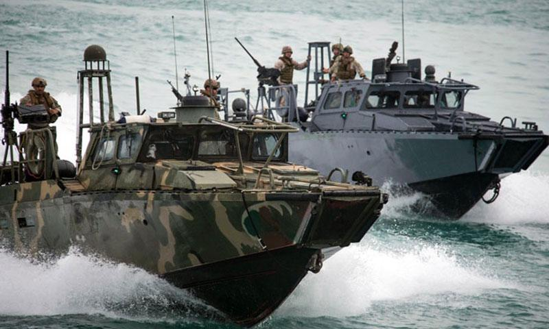 Riverine Command Boats 802 and 805 participate in a bilateral exercise with Kuwait naval forces in the Persian Gulf, on Nov. 3, 2015. (Torrey W. Lee/U.S. Navy)