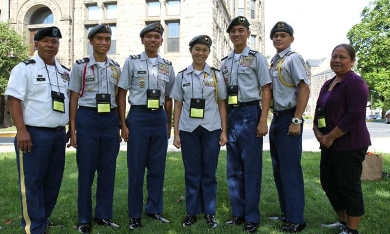 Along with battling it out with Cadets from across the globe, the Saipan Southern High School, Saipan, MP, Army Junior Reserve Officers' Training Corps Leadership and Academic Bowl (JLAB) team has had to overcome traveling nearly 7,000 miles and jetlag to compete. JLAB is taking place on the campus of The Catholic University of America, Washington, DC, June 24-27.  (Photo Credit: Mr. Michael Maddox (ROTC))