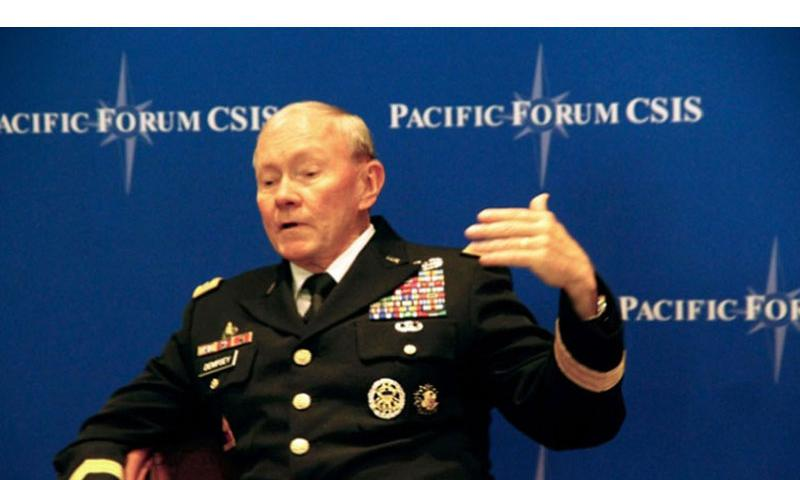Gen. Martin E. Dempsey, chairman of the Joint Chiefs of Staff, said Tuesday that he and his counterparts from Japan and South Korea had met that morning and discussed dealing with the threat of North Korea. (WYATT OLSON/STARS AND STRIPES)
