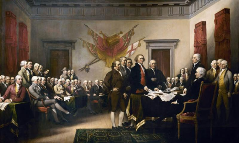 In John Trumbull's 12-foot-by-18-foot painting, the drafting committee presents the Declaration of Independence to Congress on June 28, 1776. Congress voted on independence on July 2, and adopted the document on July 4.