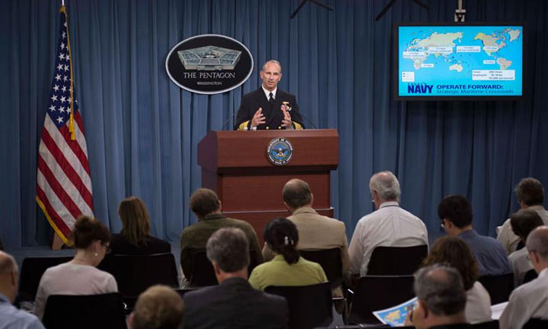 130719-N-WL435-090 WASHINGTON (July 19, 2013) Chief of Naval Operations (CNO) Adm. Jonathan Greenert conducts a press conference at the Pentagon to provide an update on the status of the Navy. Greenert discussed subjects such as international partnerships, sexual assaults and budget issues among other topics of interest. (U.S. Navy photo by Mass Communication Specialist 1st Class Peter D. Lawlor/Released)