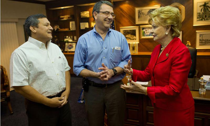 Deputy Defense Secretary Ashton B. Carter, center, visits with Guam Gov. Eddie Baza Calvo, left, and Congresswoman Madeleine Bordallo in Agana, July 19, 2012. Carter stopped in Guam during a 10-day Asia-Pacific trip to meet with leaders in Hawaii, Japan, Thailand, India and South Korea. DOD photo by U.S. Navy Petty Officer 1st Class Chad J. McNeeley