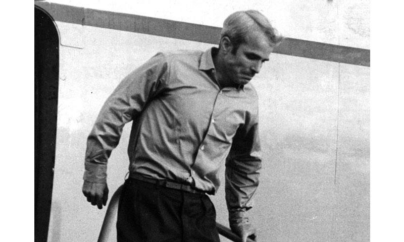 Clark Air Base, Philippines, March, 1973: Lt. Cmdr. John S. McCain III steps down from a plane that brought him back to freedom after 5½ years in a North Vietnamese prison. (STARS AND STRIPES)
