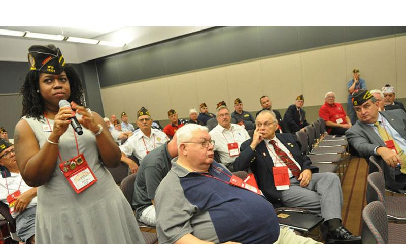 A member of the Veterans of Foreign Wars asks a question during a session on how to attract young members. The VFW's membership has been declining for years as its members age. (Heath Druzin/Stars and Stripes)