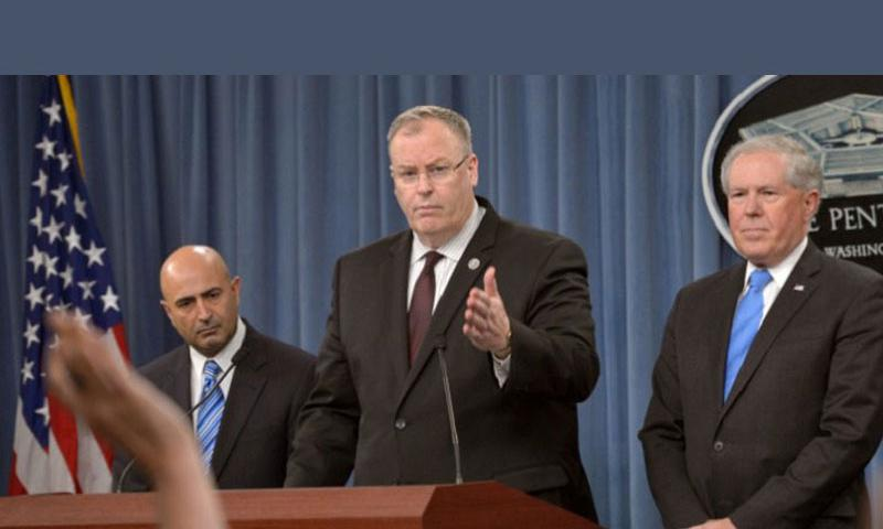 Deputy Secretary of Defense Bob Work, middle; Chairman of the Comprehensive Review Committee Dr. Vahid Majidi, left; and Under Secretary of Defense for Acquisition, Technology and Logistics Frank Kendall brief the media on the Defense Department's Comprehensive Anthrax Lab Review findings during a news conference at the Pentagon on Thursday, July 23, 2015. (Glenn Fawcett/Defense Department)