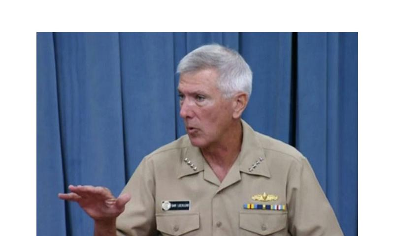 Commander of U.S. Pacific Command, Adm. Sam Locklear holds a Pentagon press briefing on July 29, 2014. (DEPARTMENT OF DEFENSE SCREENCAP)